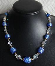 collier ancien en pâte de verre bleu et perles à facettes vintage