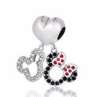 Disney Mickey and Minnie Silver Charm Cubic Zirconia, Birthday Gift