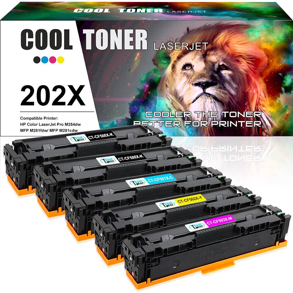 5 Pack for HP CF500A 202A Toner Color LaserJet Pro MFP M254dw M281cdw M281fdw
