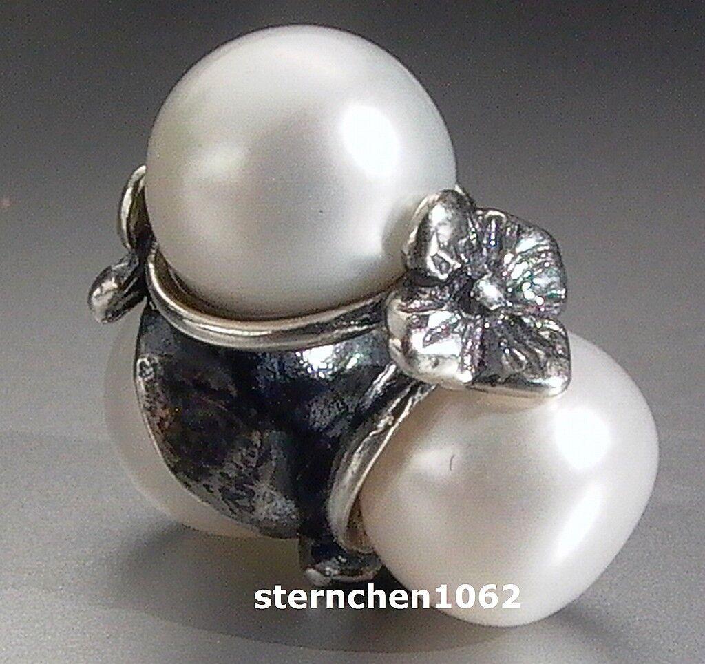 Original Trollbeads  Dreifache Perle, white  01