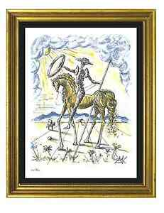 Salvador-Dali-Signed-amp-Hand-Numbered-Ltd-Ed-034-Don-Quixote-034-Litho-Print-unframed