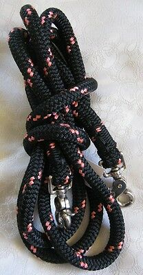 8ft Clip on Rope Reins in Black/Pink made by Natural Equipment