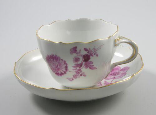 Wahl Goldrand Meissen Kaffeetasse /& Untertasse purpur Blume  2