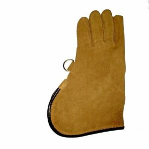 Falconry-Glove-Single-Layer-Light-Brown-Suede-Leather-12-034-Long-Standard-Size