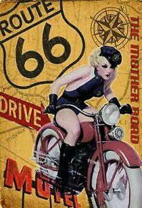 Itineraire-66-Pin-Up-Girl-Pancarte-en-Tole-Signe-Metal-Voute-Etain-20-X-30-CM