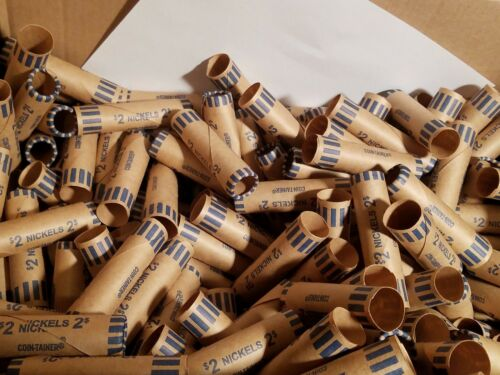 500 Coin-Tainer Paper Nickel Wrappers Pre-Crimped End Shotgun Rolls Holds $2 ea