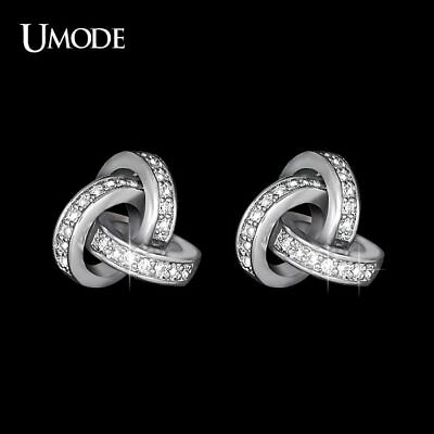 UK MADE 9ct White Gold Rex Claw Set 4mm White  C//Z Earrings