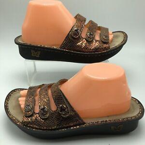 Alegria-Womens-Fiona-Slide-Sandals-Copper-Leather-Strap-Comfort-EU-40-US-10