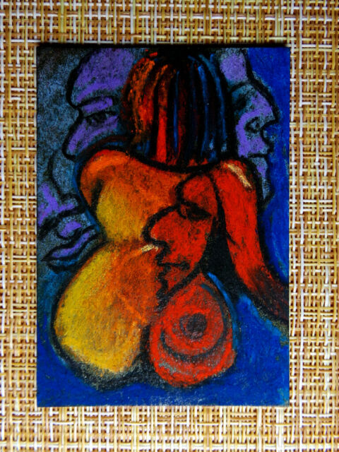 ACEO original pastel painting outsider folk art brut #010297 abstract surreal
