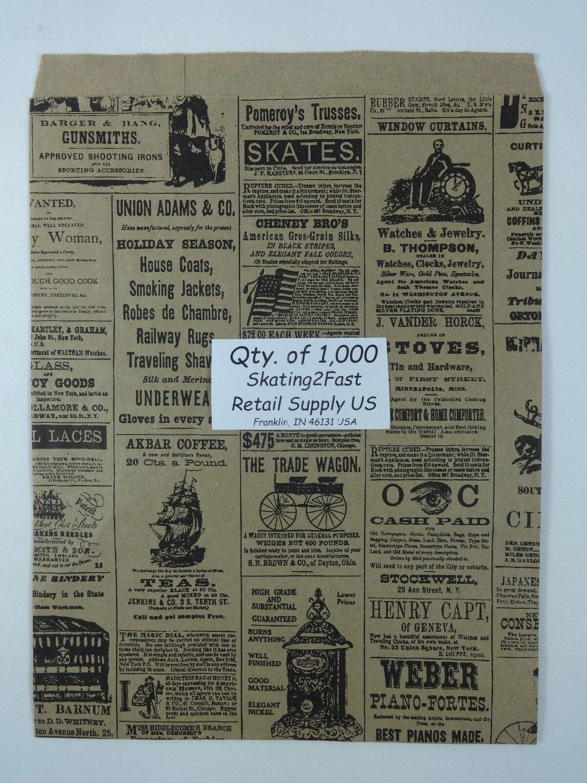 1000 Qty. 8.5  x 11  Newsprint Design Paper Merchandise Bag Retail Shopping Bags