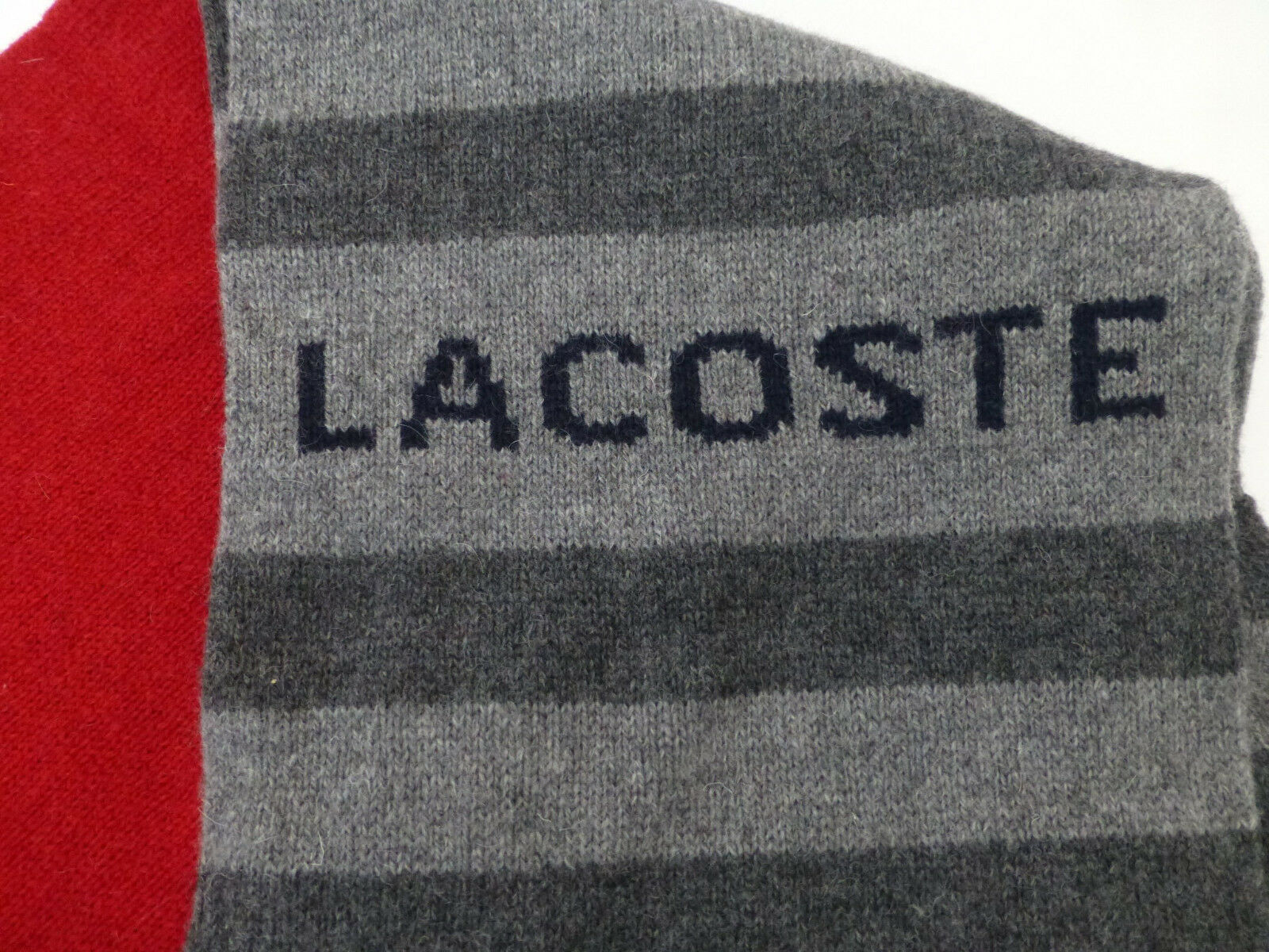 LACOSTE Scarf Scarf Scarf Ribbed Knit Woven Edge Multi Col Wool Blend Flaneel Scarves New | Großer Räumungsverkauf  1d451b