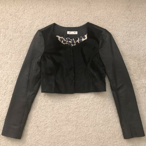 Size 2 Hill Alannah Jacket Leather Crop Black OcwXYZ