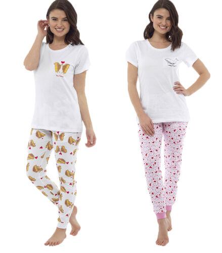 Ladies Short Sleeve Top /& Bottom Set Sleep Wear Nightwear Pyjamas Pjs 8-22