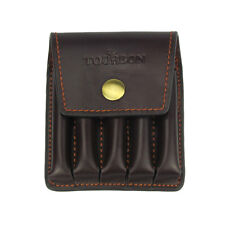 Tourbon Rifle Ammo Holder Shell Pouch Bullet Hunting 5 Cartridge Genuine Leather