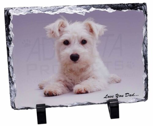 West Highland Dog 'Love You Dad' Photo Slate Christmas Gift Ornament, DAD130SL