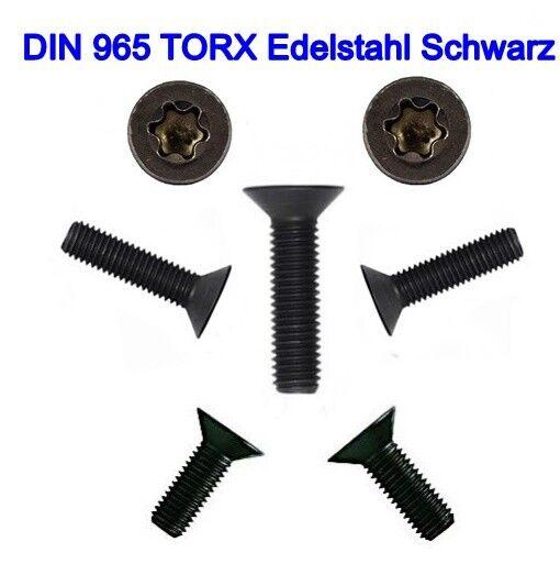 Senkschrauben DIN 965 TORX Edelstahl Schwarz M3 M4 M5 M6  schwarzer Senkkopf