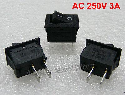 20pcs 250V 3A Mini Boat Rocker Switch SPST ON-OFF 2-Pin Black Plastic Button