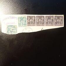 SAGE N°89 BANDE DE 4 + N°75 x2 FRAGMENT LETTRE CAD SMYRNE TURQUIE COTE MAURY 80€