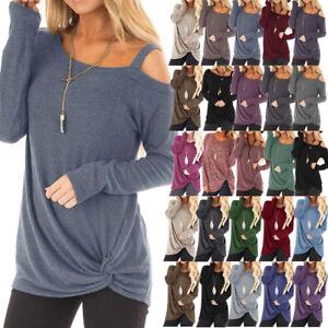 8d45a7fb8b Dettagli su Donna Spalle Scoperte Maglia Manica Lunga Casuale Tinta Unita  Donna Top T Shirt