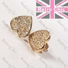 CRYSTAL HEART marc jacobs STUD EARRINGS nut studs GOLD FASHION rhinestone GIFT