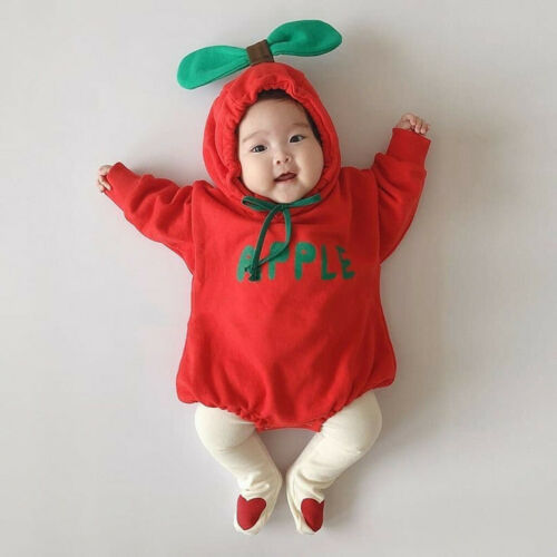 Infant Newborn Baby Girls Boys Leaf Thick Warm Hooded Romper Bodysuit Clothes