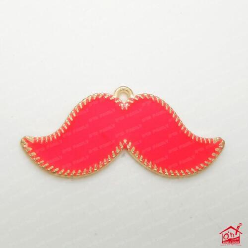 1 x Neon Bright Colour Mustache Charm Pendant Metal Enamel Necklace Making
