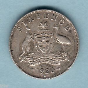 Australia-1920-Sixpence-Full-Centre-Diamond-Trace-Lustre-VF