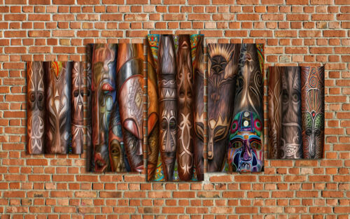 African Masks Oil Painting HD Print Wall Decor Art On Canvas 5PCS Framed