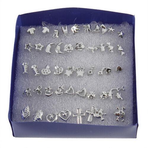 48X argent plaqué femmes hommes croix étoile en plastique oreille boucle d/'ore I
