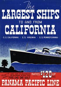 S1 Vintage Panamá Pacífico California Forro Crucero Poster volver a imprimir A4  </span>