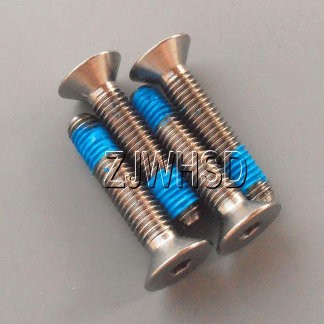 4pcs M6 x 25 Titanium Ti Screw Bolt Allen hex Socket Flat head with ThreadLocker
