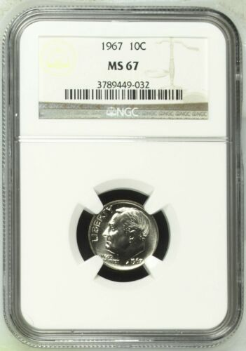 1967 Roosevelt Dime NGC MS 67