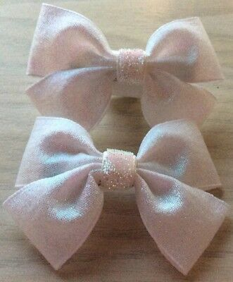2 Girls Lovely White Sparkly Handmade Ribbon Hair Bows Clips Clasps