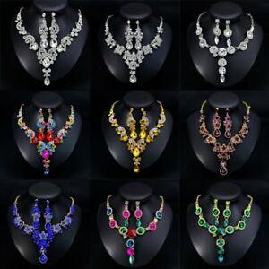 Fashion-Wedding-Bridal-Party-Crystal-Rhinestone-Necklace-Earrings-Jewelry-Set