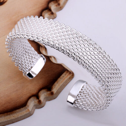 Wholesale 925 Silver Jewelry Mesh Men Women Bracelet Bangle Open BP029