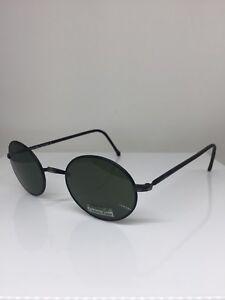 New-VINTAGE-CALVIN-KLEIN-CK-122-Round-Sunglasses-C-569-Matte-Black-Made-Italy