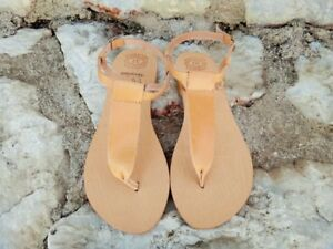 1afb2aed070 Image is loading Ancient-Greek-Leather-Sandals-Natural-Gold-Silver-T-