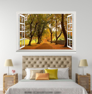3D Trees Street Leaf 0144 Open Windows WallPaper Murals Wall Print AJ Jenny