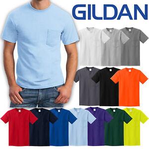 BIG-MENS-T-Shirt-with-POCKET-Gildan-100-Preshrunk-Cotton-Tee-2XL-3XL-4XL-5XL