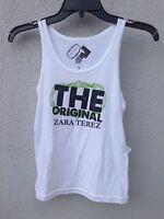 $40 Zara Terez White Tank With Green Logo Print Super Soft Size M Or 10/12