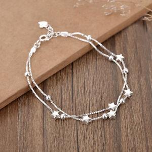 925-Sterling-Silver-Bead-Star-Love-Charm-Bracelet-Women-Jewellery-Valentine-Gift
