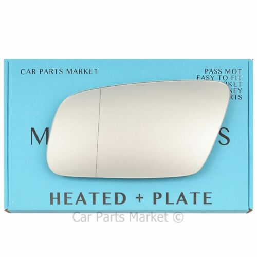 plate Wide angle Left side Wing mirror glass for Audi A6 c5 1999-2004 heated
