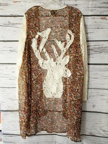 Judith March Kimono Floral Lace Deer Brown Pink Iv