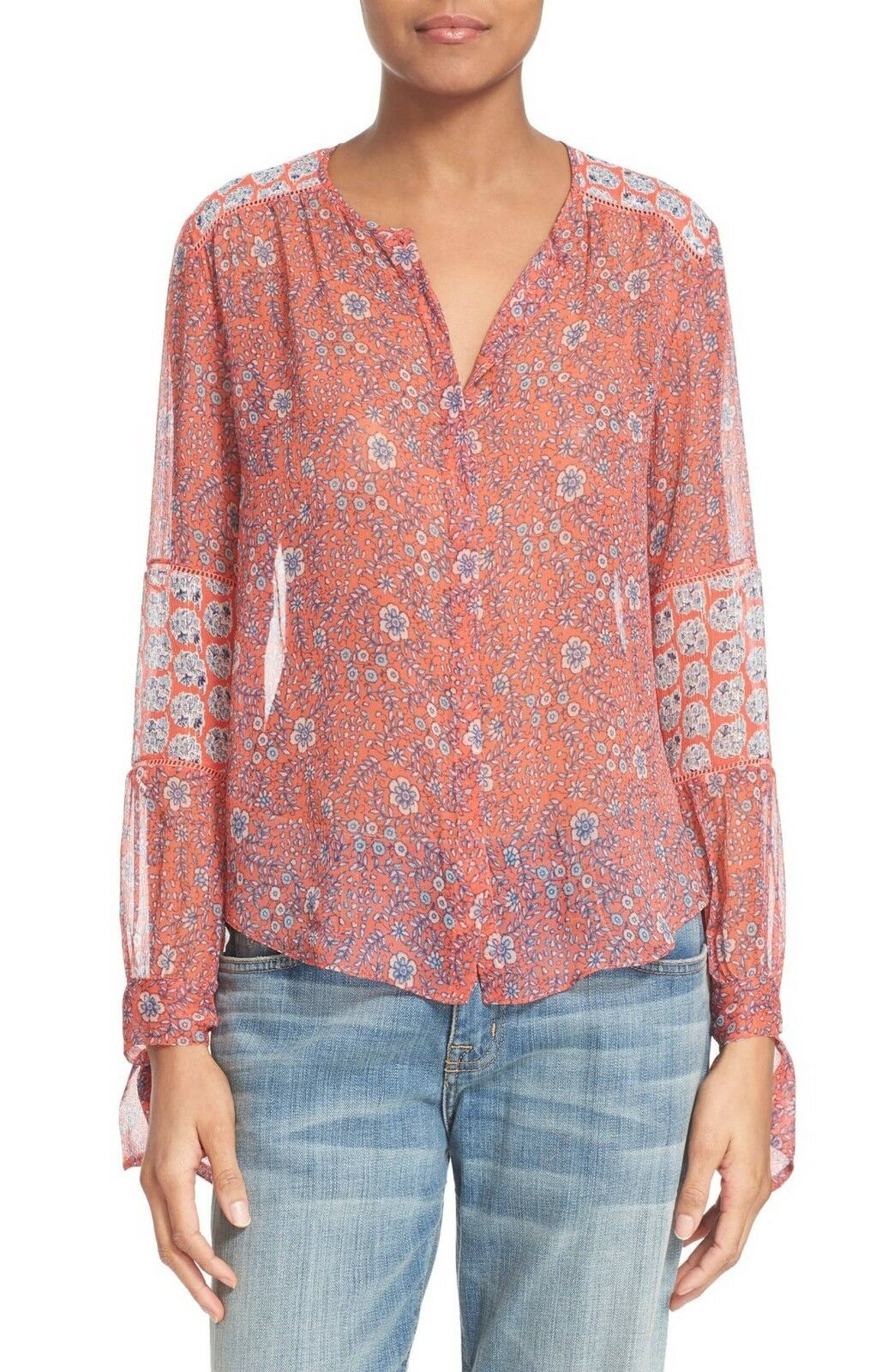 REBECCA TAYLOR Amanda Print Silk Long Sleeve Blouse Top Size 8 NWT  295