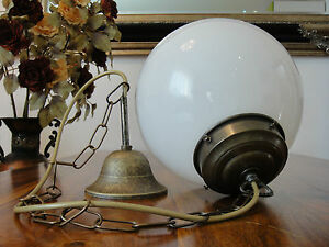Deckenlampe-Jugendstil-Haengelampe-Kugel-Lampe-Antik-Pendelleuchte-Glas-Messing