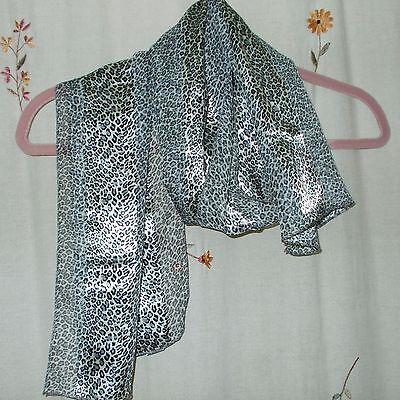 Shades of Grey Animal Print Satin Stripe Oblong Scarf eBay