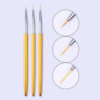 3Pcs Nail Art Liner Brushes Gold Drawing Carving Flower Pen Manicure Set Tools