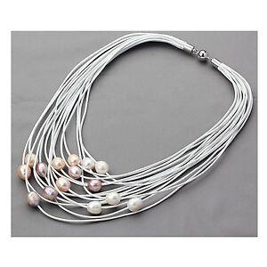 15-Straenge-weiss-Leder-Seil-amp-10-11mm-Mehrfarben-Perlenkette-17-20-Zoll