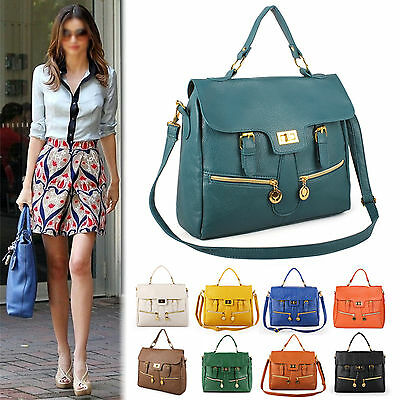 New Korea Fashion Women Ladies Satchel Bags Belt Buckle Detail Shoulder Handbag