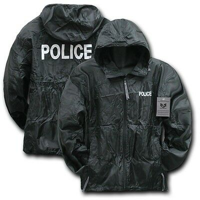 Black Police Officer Cop Sheriff Windbreaker Zipper Light Jacket Coat M L XL 2XL